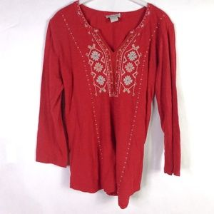 Lucky Brand Boho Long Sleeve Embroidered Top